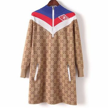 GUCCI Autumn Winter Classic Trending Women Stylish Joining Together Long Sleeve Dress