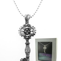 Key To Success Filigree Silver & Crystal Key Pendant Gift Boxed
