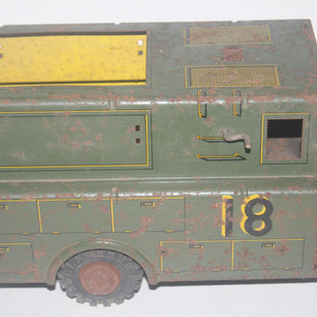 Vintage Marx Lumar Utility Service Truck #18, 1950 Pressed Steel Toy Truck, Antique Alchemy