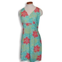 Sexy Halter - Bright Hibiscus Women's Fitted Dress