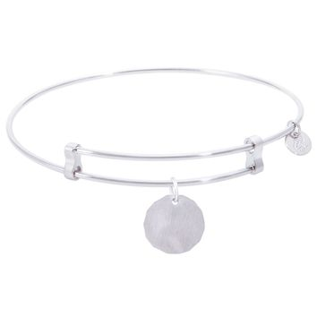 Sterling Silver Confident Bangle Bracelet With Plain Charm Tag Charm