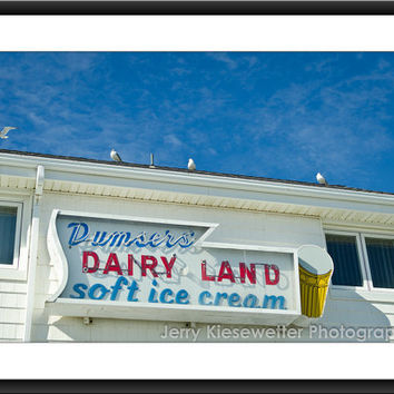 Boardwalk Ice Cream Photography, Dumsers Dairy Land Photo, Beach and Ocean Photograph, Home Condo Decor, Fine Art Photography, Maryland Art
