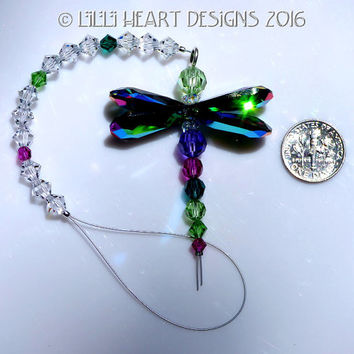 m/w Swarovski Crystal Suncatcher Smaller Colorful Double Peacock Colors Winged DRAGONFLY Clear Bead Strand Lilli Heart Designs