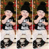 Newborn Baby Girl Boy Clothes Cotton Tops T-shirt Pants Trouser 2pcs Outfits set