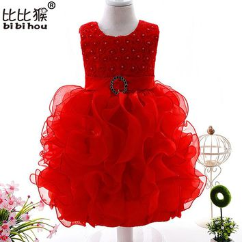 Toddler Girls Fancy Princess Tutu Dress Holiday Flower Double Layered Fluffy Baby Girl Dress Gown Princess Infant Christening