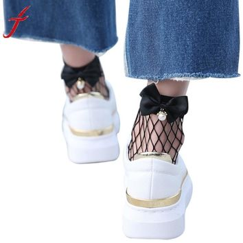 Fish Net Short Socks Women Ruffle Fishnet Ankle High Socks Bow Tie Hollow Out Thin Mesh Lace Chaussettes Femme
