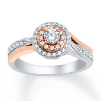 Diamond Engagement Ring 1/2 ct tw Round-cut 10K Two-Tone Gold