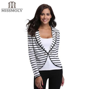 Miss Moly 2017 Fashion Women Sexy Black White Stripe Pattern Notched Collar Long-sleeved Bodycon Tight Blazer Autumn Lady Tops