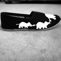 Elephant hand painted canvas shoes