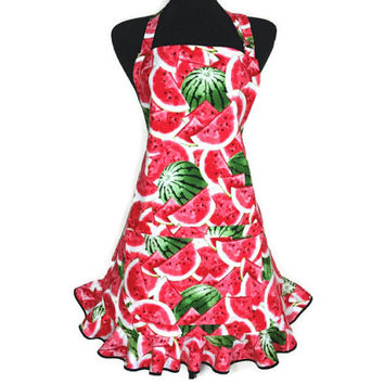 Watermelon Apron for Women , Adjustable with Pocket and Retro Ruffle , Country Kitchen Decor