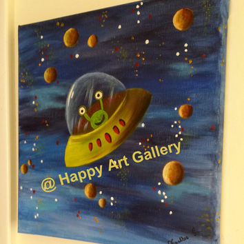 Alien Spaceship, planets, nursery art, outer space, Baby Boy Nursery Decor, Outer Space Nursery wall art, kids wall art, blue baby art 12X12