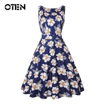 OTEN womens clothing casual summer elegant ladies sleeveless floral print midi dresses vestido pin up vintage rockabilly 50s 60s
