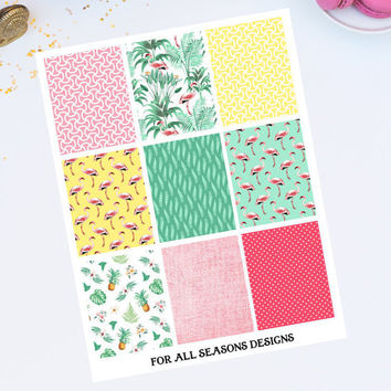 Full Box Planner Stickers, Tropical Flamingos, Fits Erin Condren Planner, Custom Sizes Available