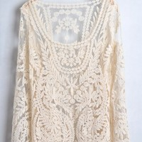 Light Apricot Lace Embroidery Long Sleeve Cotton T-Shirt