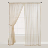 Beige Sleeve Top Cotton Voile Curtains, Set of 2