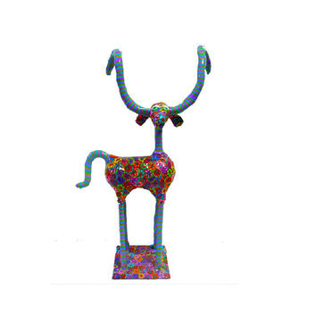 Art - Metal- animal sculpture - ibex  sculpture - polymer clay - 100% handmade