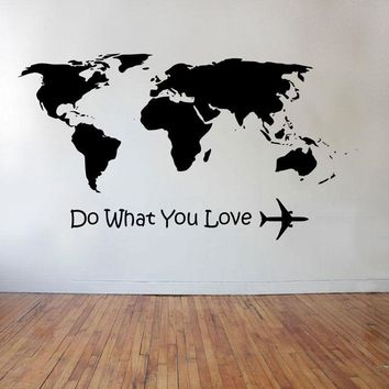 YOYOYU Wall Decal Do What Love  Airplane Wall Sticker Home Decoration Accessories Word Map Vinyl Art VIntage Poster YO036