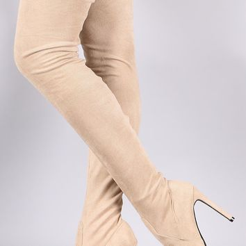 So Me Stiletto Heel Pointy Toe FX Suede Stocking Over The Knee Boot Nude Beige