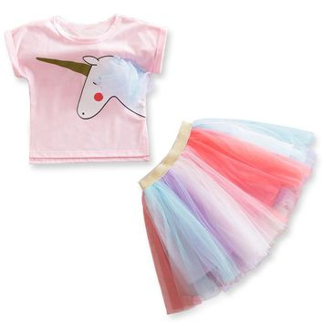 Unicorn Summer Girls Dress Little Princess Dresses Kids Clothes For Girl Vestidos Children Party Frocks Kids Tutu Formal Costume