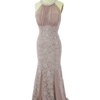 Mocha Lace Chiffon Cutaway Shoulder Mermaid Gown