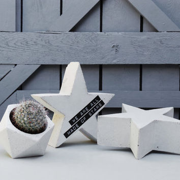 Concrete star with customised ribbon, concrete star, white concrete star, personal message on the star, table decor, gift idea