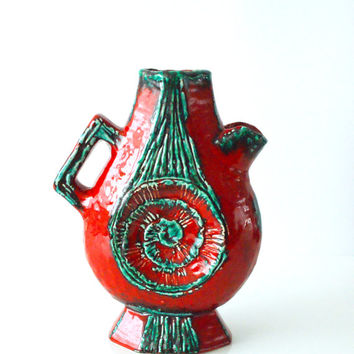 WEST GERMAN POTTERY Vase Jug Pitcher, Schlossberg, Rare 504/26, Red and Green Colorful, Unusual Statement Piece, Made in Germany
