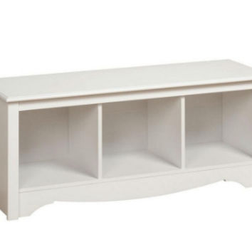 Cubbie Bench with Three Compartment Home Furniture Storage Bench White