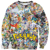 WOMEN/MEN 3D Cartoon Pokemon Invasion pikachu Sweatshirts Totally 90's Crewneck