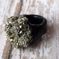 Grounding - Raw PYRITE Chunky Mineral Stone RING Size: 5.5/6