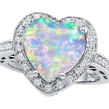 Star K 10mm Heart-Shape Simulated Opal Wedding Ring Size 5