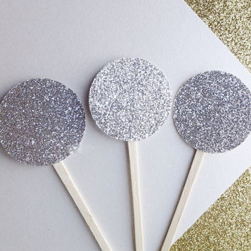 Glitter toppers, graduation party decor, cupcake toppers, cupcake decor, silver glitter