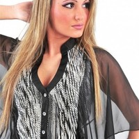 Stripe Beaded Chiffon Shirt - Diva Hot Couture
