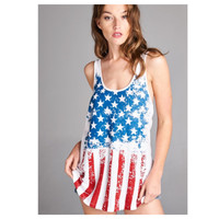 """""""American Pride"""" Red White and Blue American Flag Tank Top"""