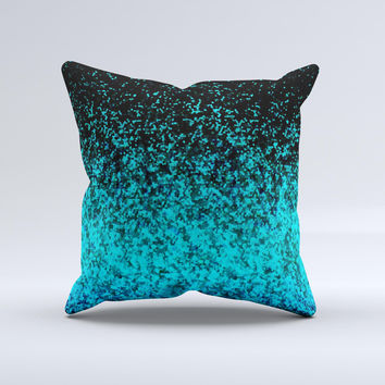 Black and Turquoise Unfocused Sparkle Print Ink-Fuzed Decorative Throw Pillow