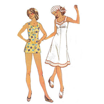 McCall's 4493 Plus Size Fit and Flare Dress Mini Maxi & Shorts 1970s Vintage Sewing Pattern Size 40 Bust 44 inches