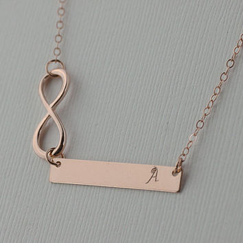 infinity rose gold bar necklace. one initial or Blank rose gold filled Rectangle Necklace. Doutzen Kroes, Celebrity Inspired necklace.