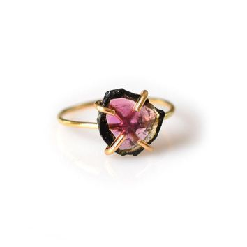 14kt Gold-Fill Watermelon Tourmaline Claw Ring