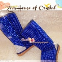 PROMOTION WINTER Bling and Sparkly Tall Blue Pearls SheepSkin UGG Inspired BOOTS w shinning Czech or Swarovski crystals - ZoeCrystal