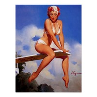 Vintage Elvgren Diving Board Swimmer Pin Up Girl