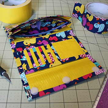 Womens Duct Tape Wallet, Accordion Trifold~Rubber Ducks. Teen Wallet/Credit Card Wallet/Trifold Wallet/Accordion Wallet/Duct Tape Craft