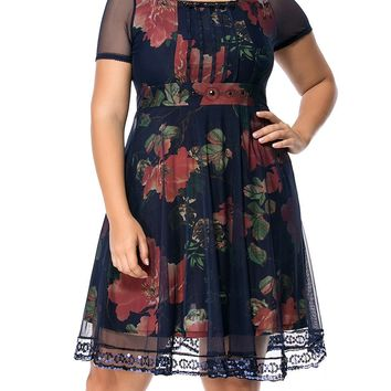Streetstyle  Casual Square Neck Sequin Hollow Out Floral Printed Plus Size Flared Dress