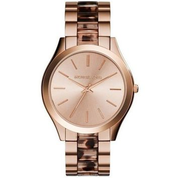 Michael Kors MK4301 Women's Slim Runway Watch, Rose Gold/Tortoise/Blush