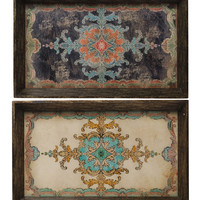 Black Ornate Tray - Set of Two