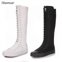 2017 Fashion Women Boots Canvas Lace Up Zip Knee High Boots Women boots Flat Casual Tall Punk Shoes White Black Plus Szie 35-43