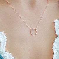 CIRCLE UP NECKLACE - ROSE GOLD