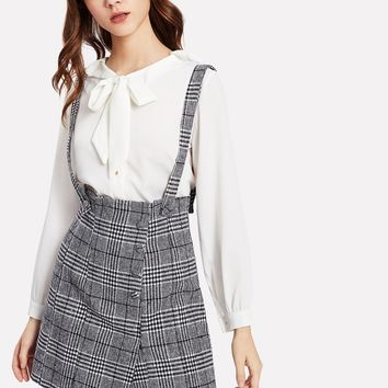Wales Check Skirt With Detachable Straps