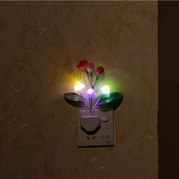 Roses Mushroom LED Light Control Night Light 7 Colors Changing Flower Home Wall Decor Gift