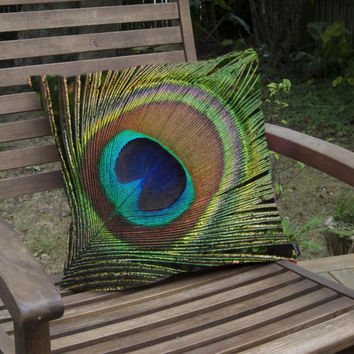 Peacock feather pillow, decorative photo cushion for indoor or outdoor patio seating, bird lover photography for home making interior design