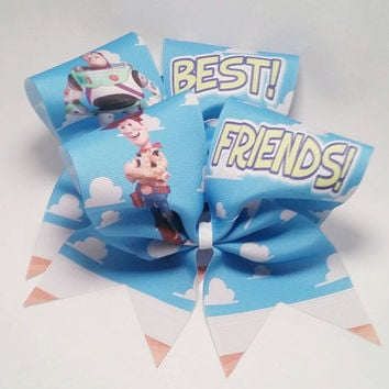 Woody & Buzz Best Friends Cheer Bow Set- 3 Inch Texas Sized - Cheer Party - Theme Practice - Birthday Gift - Ponytail Accessory