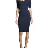 Milly Pointed Scallop Fitted Dress